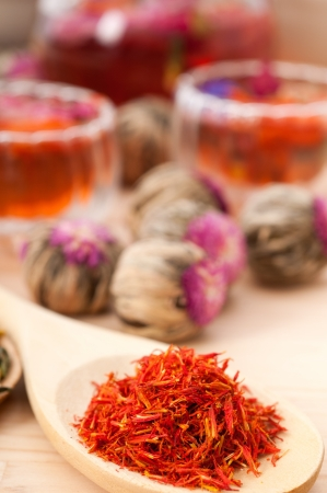 Herbal natural floral tea infusion with dry flowers ingredients Stock Photo - 16661979