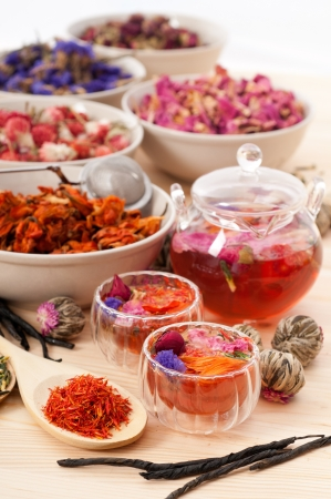 Herbal natural floral tea infusion with dry flowers ingredients Stock Photo - 16661952
