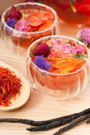 Herbal natural floral tea infusion with dry flowers ingredients Stock Photo - 16662044