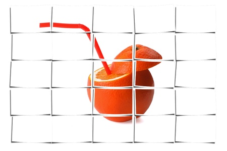 fresh ripe orange cutted on top with straw on white background Stock Photo - 16661844