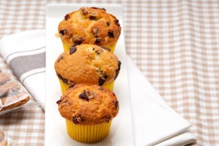 fresca hecha en casa muffins de chocolate y pasas Foto de archivo - 17006798