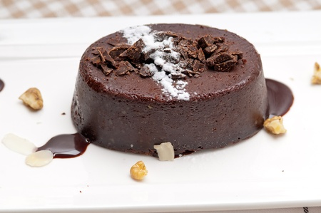 fresh home made chocolate walnuts cake with icing and topping Stock Photo - 17006784
