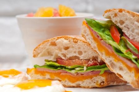 fresh ciabatta panini sandwich with eggs tomato lettuce Stock Photo - 17006786