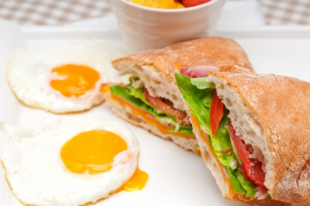 fresh ciabatta panini sandwich with eggs tomato lettuce Stock Photo - 17006783