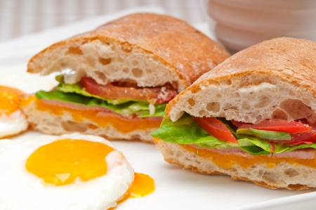 fresh ciabatta panini sandwich with eggs tomato lettuce Stock Photo - 17006788