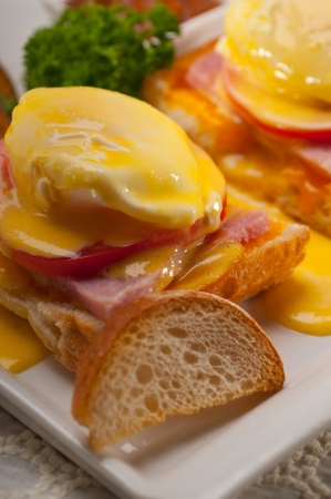 fresh eggs benedict on bread with tomato and ham Stock Photo - 17006797