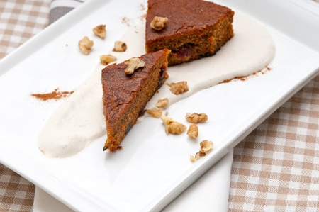 fresh healthy home made carrots and walnuts cake dessert photo