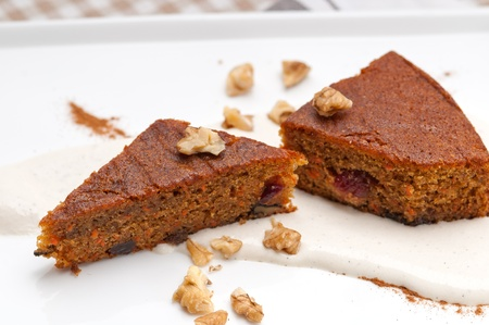 fresh healthy home made carrots and walnuts cake dessert Stock Photo - 17006836