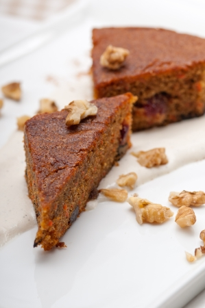 fresh healthy home made carrots and walnuts cake dessert Stock Photo - 17006832