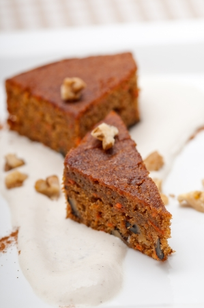 fresh healthy home made carrots and walnuts cake dessert Stock Photo - 17006829