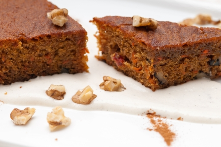 fresh healthy home made carrots and walnuts cake dessert Stock Photo - 17006841