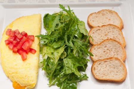 home made omelette with cheese tomato and rucola rocket salad arugola Stock Photo - 17006845
