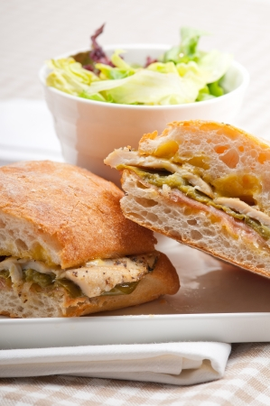 traditional Italian ciabatta panini sandwich chicken vegetables and aioli Stock Photo - 17006853