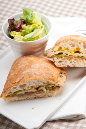 traditional Italian ciabatta panini sandwich chicken vegetables and aioli Stock Photo - 17006849