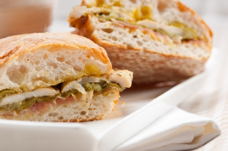 traditional Italian ciabatta panini sandwich chicken vegetables and aioli Stock Photo - 17006842
