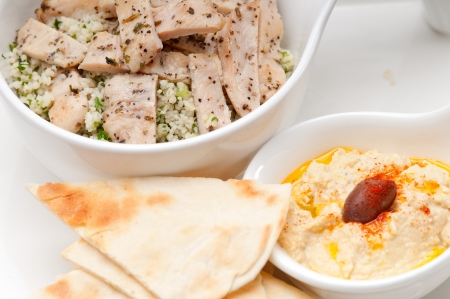 fresh traditional arab taboulii couscous with hummus Stock Photo - 17006831
