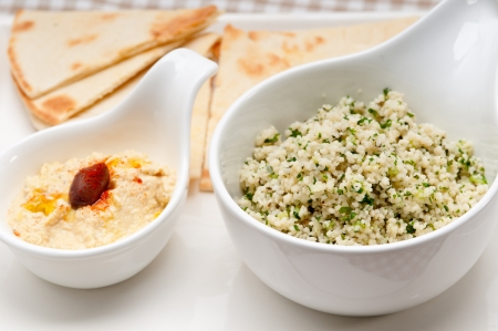 fresh traditional arab taboulii couscous with hummus Stock Photo - 17006835