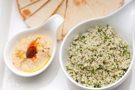 fresh traditional arab taboulii couscous with hummus Stock Photo - 17006833