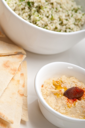 fresh traditional arab taboulii couscous with hummus Stock Photo - 17006834