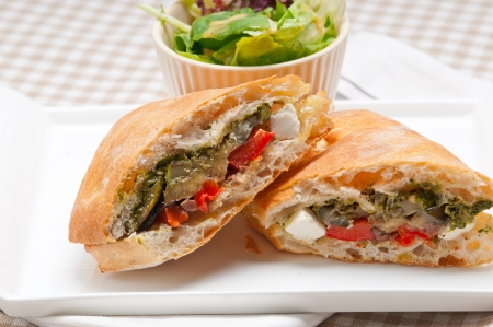 Italian ciabatta panini sandwichwith with vegetable and feta cheese Stock Photo - 17050443