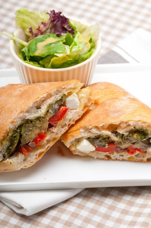 Italian ciabatta panini sandwichwith with vegetable and feta cheese Stock Photo - 17050430