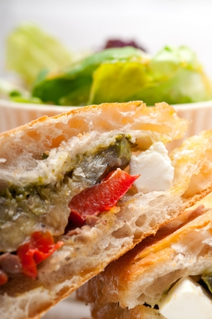 Italian ciabatta panini sandwichwith with vegetable and feta cheese Stock Photo - 17050440