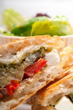 Italian ciabatta panini sandwichwith with vegetable and feta cheese Stock Photo - 17050440