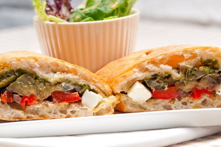 Italian ciabatta panini sandwichwith with vegetable and feta cheese Stock Photo - 17050446