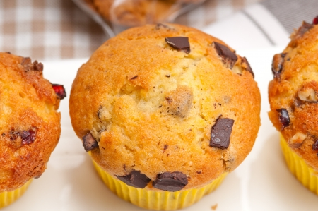fresh home made chocolate and raisins muffins photo