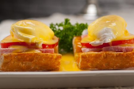 fresh eggs benedict on bread with tomato and ham Stock Photo - 17105589