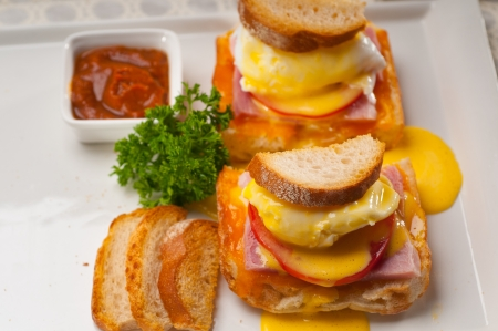 fresh eggs benedict on bread with tomato and ham Stock Photo - 17105565