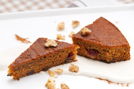 fresh healthy home made carrots and walnuts cake dessert Stock Photo - 17105563