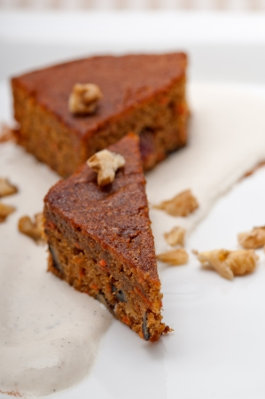 fresh healthy home made carrots and walnuts cake dessert Stock Photo - 17105567