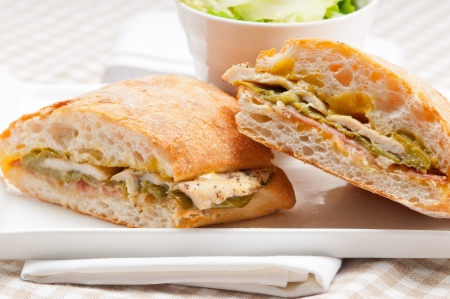 traditional Italian ciabatta panini sandwich chicken vegetables and aioli Stock Photo - 17105583