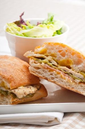 traditional Italian ciabatta panini sandwich chicken vegetables and aioli Stock Photo - 17105579