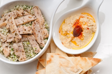 fresh traditional arab chicken taboulii couscous with hummus Stock Photo - 17105580