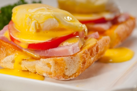 fresh eggs benedict on bread with tomato and ham Stock Photo - 17349857