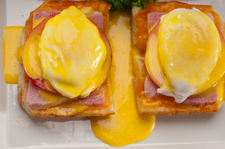 fresh eggs benedict on bread with tomato and ham Stock Photo - 17349860