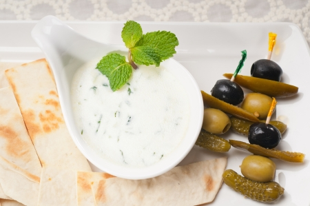 fresh Greek Tzatziki yogurt dip and pita bread and pickels Stock Photo - 17349874