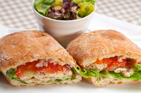 italian ciabatta panini sandwich with chicken and tomato Stock Photo - 17349869