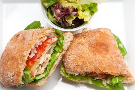 italian ciabatta panini sandwich with chicken and tomato Stock Photo - 17349870