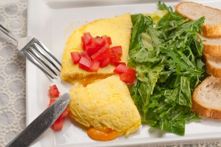 arugola: home made omelette with cheese tomato and rucola rocket salad arugola Stock Photo