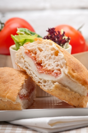 Italian ciabatta panini sandwich with parma ham and tomato Stock Photo - 17846664
