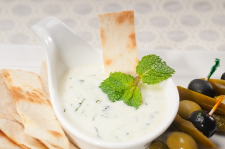 fresh Greek Tzatziki yogurt dip and pita bread and pickels Stock Photo - 17846683