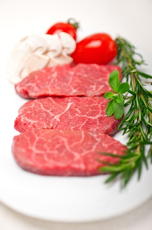 raw fresh Kobe Miyazaky beef with rosmary and marjoram Stock Photo - 17846673