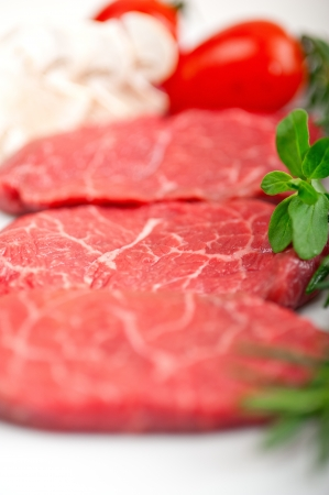 raw fresh Kobe Miyazaky beef with rosmary and marjoram Stock Photo - 17846677