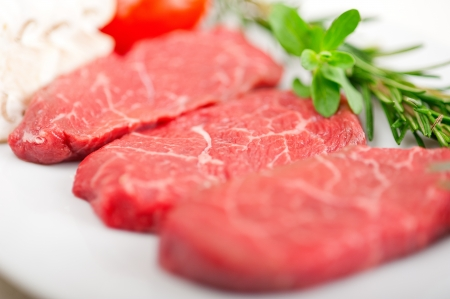 raw fresh Kobe Miyazaky beef with rosmary and marjoram Stock Photo - 17846675