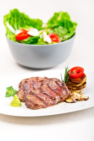 grilled Kobe Miyazaky beef with fresh vegetables Stock Photo - 17846671