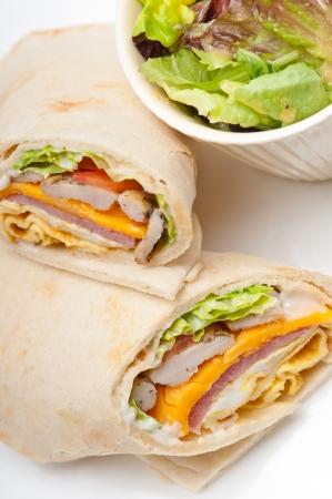 fresh and healthy club sandwich pita bread roll Stock Photo - 17846747