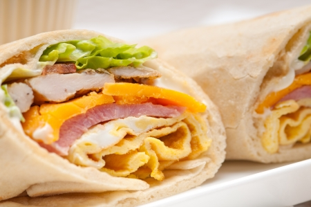 fresh and healthy club sandwich pita bread roll Stock Photo - 17846744